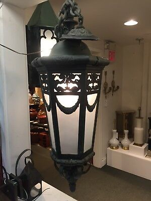 Rare Fine Solid Bronze Hanging Lantern By Caldwell