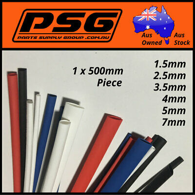 Heat Shrink 600mm of tubing 1.5mm 2.5mm 3.5mm 5mm 7mm Red White Blue Black