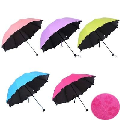 AU Unisex Windproof Anti-UV Sun Rain Umbrella Protection Magic Flowers Parasols