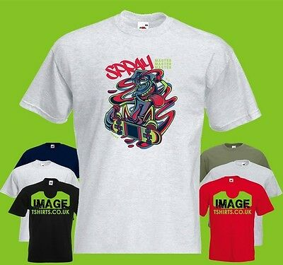 Spray Master Mens PRINTED T-SHIRT Can Skateboard Skater Skate Graffiti