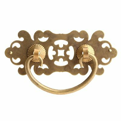 Flower Engraving Brass Drawer Cabinet Pull Knob Retro Door Handle Chinese Style
