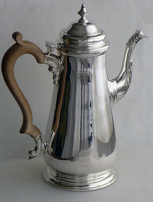 Georgian style hallmarked silver coffee pot, London 1965 by C.J. Vander