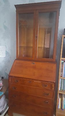 Beautiful Yew Bureau with Glass Cabinet, Good Condition