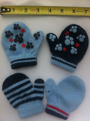 4 baby mittens - mix and match varied blues cotton blend unisex one size