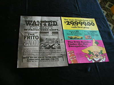 vintage lot of 2 fritos corn chips print ad frito bandito wanted 1968 1969 ad
