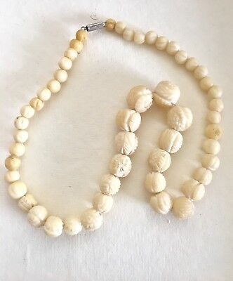 Bovine Bone Chinese Carved Necklace