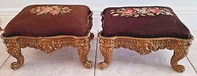 2 Antique Victorian Cast Iron Foot Stools W Floral Needlepoint