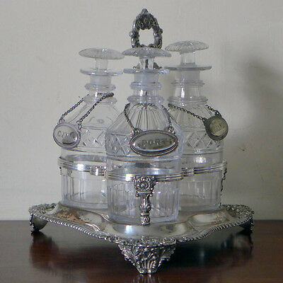 Old Sheffield Plate trefoil decanter stand and decanters, circa 1830