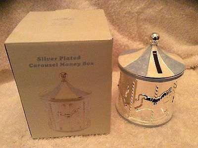 Christening Gift Baby Boy Silver Plated Blue Carousel Money Box by Leonardo