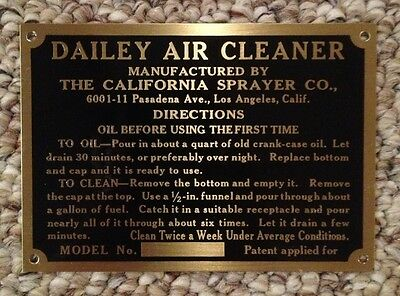Caterpillar - Holt 2-Ton Brass Dailey Air Cleaner Tag