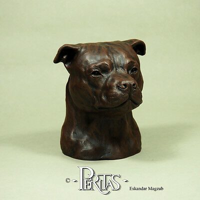 Staffordshire Bull Terrier dog Staff Staffy PERITAS sculpture statue fine art