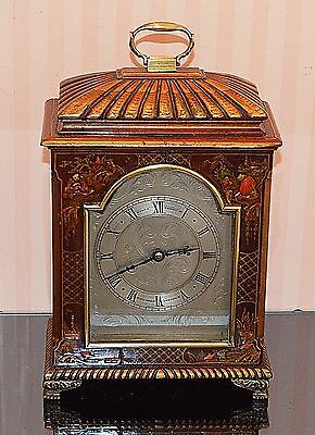 Antique Small Mahogan Chinoiserie Bracket Clock by Hunt & Roskell  - Working