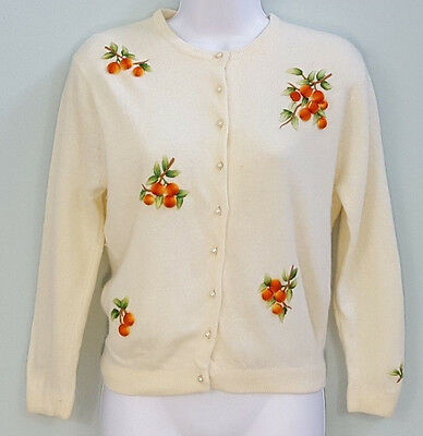 Vintage 50s Cardigan Sweater Peach 3D Embroidery Ivory Wool XS Rockabilly