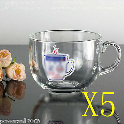 5X 450ML Elegant Crystal Glass Draft Beers Cup Juice Cup Handle Cup Multi-Use NN