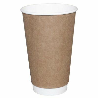 Olympia Takeaway Coffee Cups Double Wall Tea Water Hot Drink Kraft 455ml x25