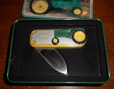 john deere styled tractor collector knife in tin d7
