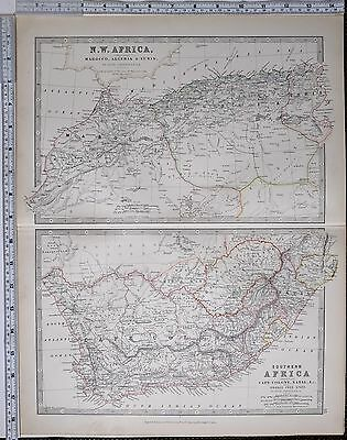 1881 Large Antique Map North West Africa Marocco Algeria Tunis Cape Colony Natal