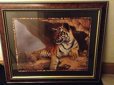 """Home Interior Tiger/Safari Picture - 33"""" wide by 27"""" high - LOCAL PICKUP ONLY!!"""