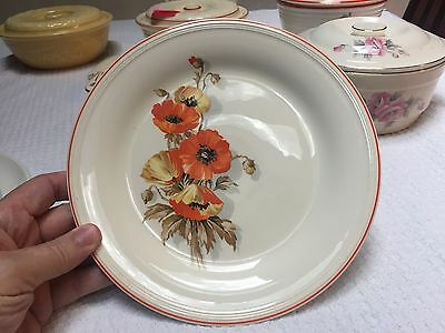 "Vintage Knowles 9"" Plate with Orange Poppy Decal"