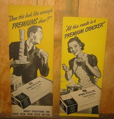 2 Vintage National Biscuit Co. Premium  Crackers posters Sign  1940S 50S