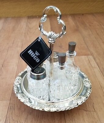 Silver plated Vintage Cut Glass Condiment Cruet Set On Stand Salt Pepper