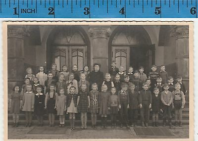 Vintage Photo Large group of girls and boys with teacher  #317