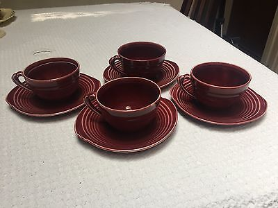 Vintage Knowles Yorktown Art Deco Maroon Cups and Saucers (4 sets, one auction)