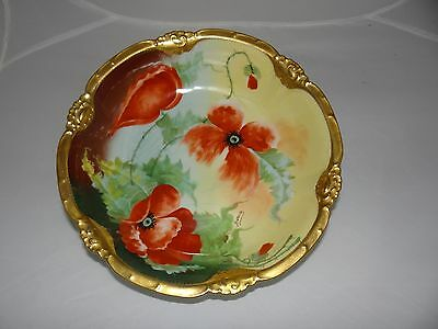 Limoges Coronet M de M Hand Painted and Signed Bowl with 24 Carat Gold Trim