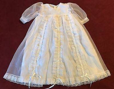Vintage White Lace Christening Gown Baby Baptism Satin Tulle Lace