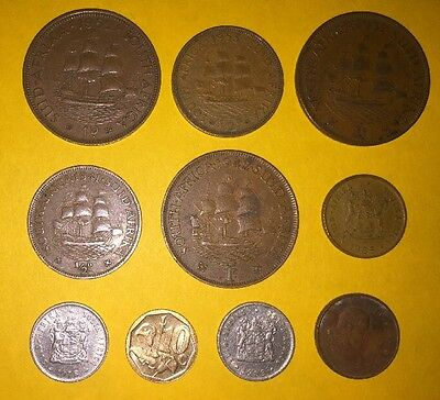 10 Suid Afrika South Africa Coins 1 1/2 Pence 1937 And Up Plus Others Coin Lot