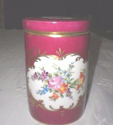 LIMOGES TEA CADDY with DRESDEN Style Flowers HALGA, FRANCE