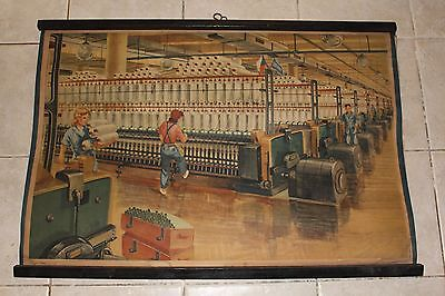 Original vintage pull down school chart of The spinning mill,cotton-mill