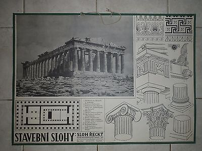 Original vintage school chart of the Greek architectural style
