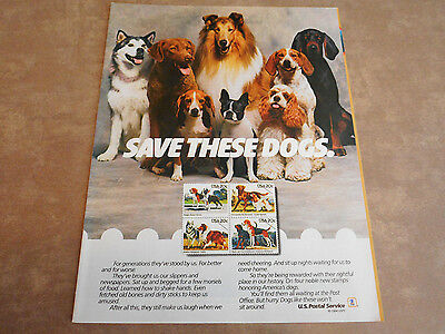 "Vintage Magazine Ad Featuring Dogs For Usps ""save These Dogs"" 8X11-1984"