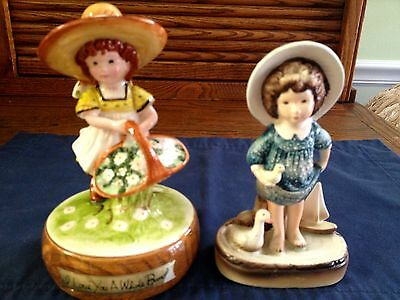 Two American Greetings Made In Japan Girl Figurines, Floral Love A Bunch & Boat