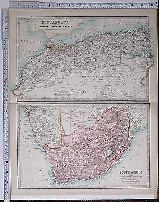 1915 Large Map North West Africa Morocco Algeria Tunis Cape Colony Transvaal