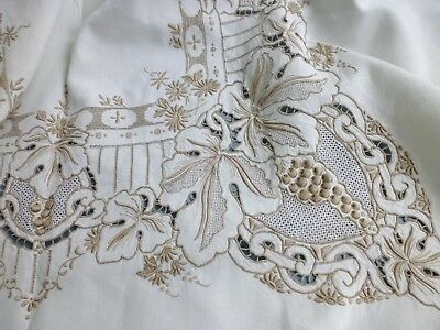 Vtg hand embroidered Madeira style lace linen tablecloth 'grapes' 165cm x 210cm