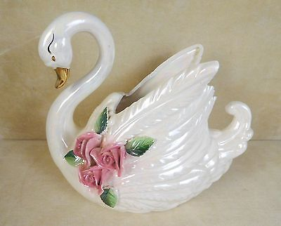 Iridescent Swan Figurine Planter With Applied Roses Norcrest Japan