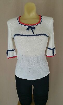 Vintage 70s 60s Fashion Import Knit Top Womens Sz Xs-S White Red Blue