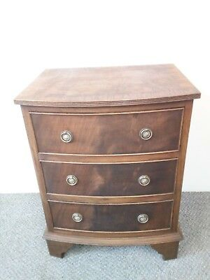 Mahogany mini Bow Chest 3 drawers George III Style Bracket Feet Great Condition