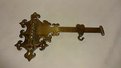 Antique Ornate Brass Fireside Crane Arm - Adjustable - Hook - Kettle - Spit