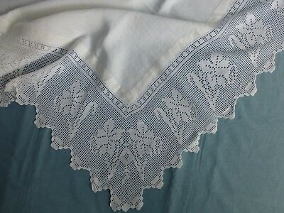 Antq Victorian Edwardian linen  tablecloth daffodil crochet lace edge 140cm sq