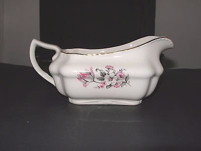 Steubenville Pink Tip White Flower Gray Leaves Floral STB170 Gravy Boat 1950