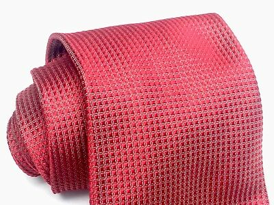 BRIONI Men's Red Solid Woven Silk Neck Tie Made In Italy