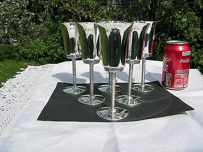 English Hallmarked Solid Silver Set of 6 Goblets.  Mint Condition.