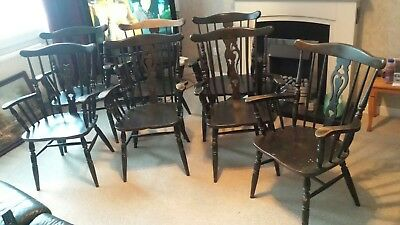 SEVEN 7 DISTRESSED SPINDLE BACK CARVER CHAIRS - Rustic Vintage