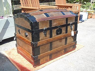 Antique Saratoga Trunk Chest / Dome Top Pirate Chest Very Nice