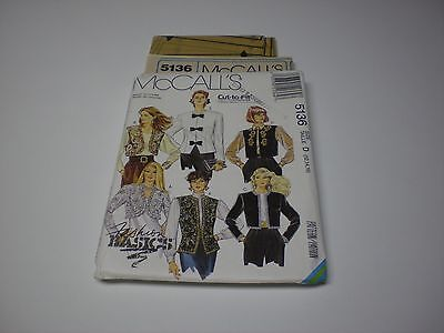 McCall's 5136 Misses' Lined Jackets Or Vests - Size 12,14,16