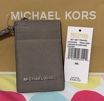 New Michael Kors Jet Set Travel Leather Lanyard Id Card Case In Pearl Grey $108