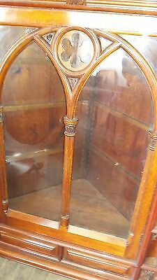 Gothic Revival Oak Glass Fronted Corner Cupboard With 2 Drawers Below